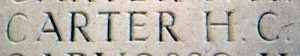 Henry Charles Carter's name on the Thiepval Memorial, Pier and face 13A and 13B