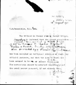 Thomas, William - Saltney Letter from War Office 12th August 1918
